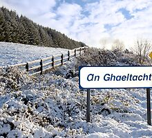an ghaeltacht sign in irish snow scene by morrbyte