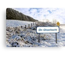 an ghaeltacht sign in irish snow scene Metal Print