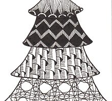 Zentangle Christmas Tree 008 by Ryan Elizabeth Woelfel