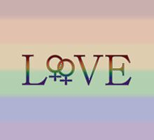 Rainbow Love- With Double Female Gender Symbols - Lesbian Pride by LiveLoudGraphic