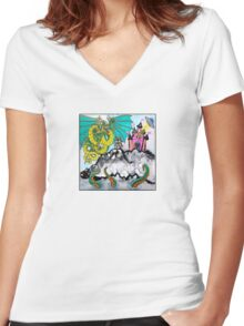 heart attack (front) Women's Fitted V-Neck T-Shirt