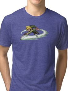 Link fighting with sword Tri-blend T-Shirt