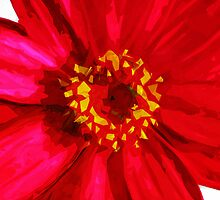 Red Daisy Flower Abstract Impressionism by pjwuebker