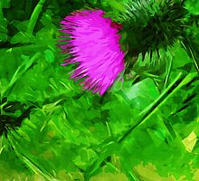 Flodmans Thistle Abstract Impressionism by pjwuebker