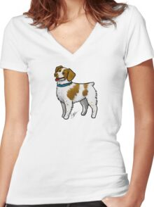 Brittany Spaniel Women's Fitted V-Neck T-Shirt