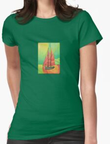 Cubist Abstract Sailing Boat Womens Fitted T-Shirt