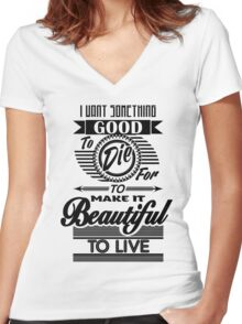 Beautiful to Live (typography) Women's Fitted V-Neck T-Shirt