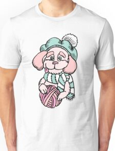 Cute puppy in beret with yarn ball Unisex T-Shirt