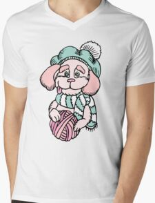 Cute puppy in beret with yarn ball Mens V-Neck T-Shirt