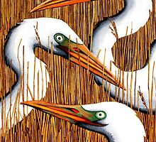 Three Egrets by Laural Retz