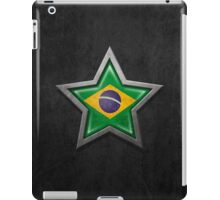 Brazilian Flag inside of an Aged and Scratched Star iPad Case/Skin