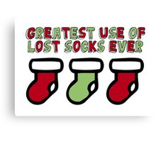 Holiday Humor - Greatest use of lost socks ever (christmas stockings) Canvas Print