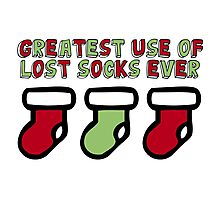 Holiday Humor - Greatest use of lost socks ever (christmas stockings) Photographic Print