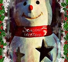 Seasons Greetings with a snowman by Scott Mitchell