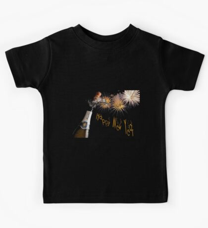 Happy New Year Greeting With Champagne and Fireworks Kids Tee
