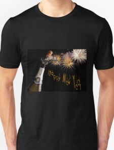 Happy New Year Greeting With Champagne and Fireworks Unisex T-Shirt