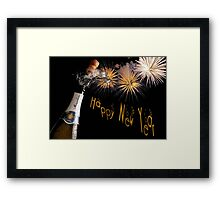 Happy New Year Greeting With Champagne and Fireworks Framed Print