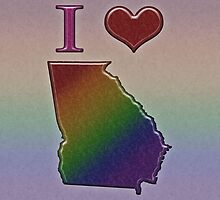 I Heart Georgia Rainbow Map - LGBT Equality by LiveLoudGraphic