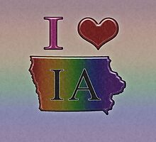 I Heart Iowa Rainbow Map - LGBT Equality by LiveLoudGraphic