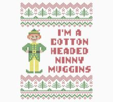 Funny Elf Cotton Headed Ninny Muggins Ugly Sweater by xdurango