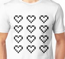 12 Pixel Hearts - Black see-through Unisex T-Shirt