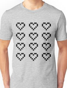 12 Pixel Hearts - Black see-through Unisex T-Shirt