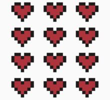 12 Pixel Hearts - Red One Piece - Short Sleeve