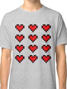 12 Pixel Hearts - Red Classic T-Shirt