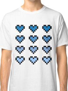 12 Pixel Hearts - Blue Gradient Classic T-Shirt