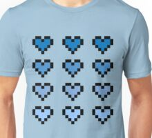 12 Pixel Hearts - Blue Gradient Unisex T-Shirt