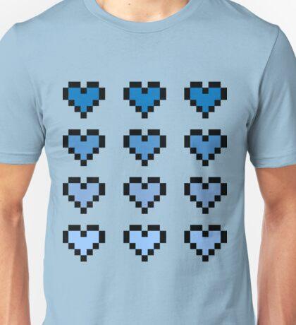12 Pixel Hearts - Blue Gradient Unisex T-Shirt