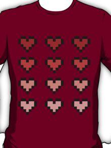 12 Pixel Hearts - Red Gradient T-Shirt