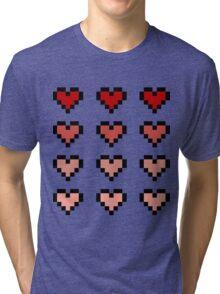 12 Pixel Hearts - Red Gradient Tri-blend T-Shirt