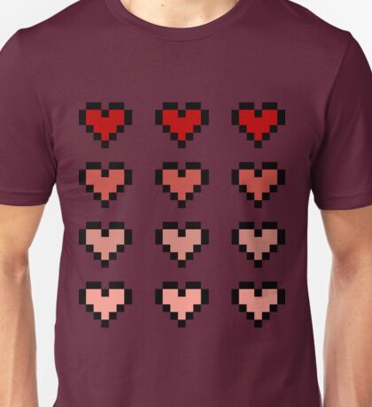 12 Pixel Hearts - Red Gradient Unisex T-Shirt