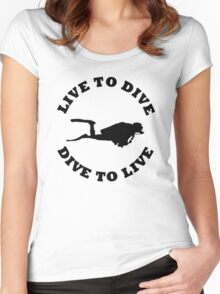 LIVE TO DIVE DIVE TO LIVE BLACK SCUBA Women's Fitted Scoop T-Shirt