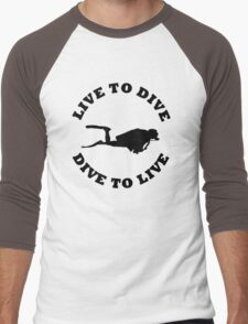 LIVE TO DIVE DIVE TO LIVE BLACK SCUBA Men's Baseball ¾ T-Shirt