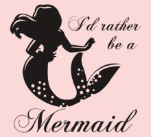 I'd Rather Be A Mermaid Ladies Tee Ariel (black ink) by Max Effort