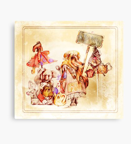 Vintage post card with funny animals Canvas Print
