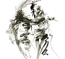 Samurai sword bushido katana short knife ninja shadow martial arts sumi-e original ink painting artwork by Mariusz Szmerdt