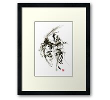 Samurai sword bushido katana short knife ninja shadow martial arts sumi-e original ink painting artwork Framed Print