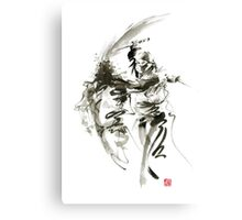 Samurai sword bushido katana short knife ninja shadow martial arts sumi-e original ink painting artwork Canvas Print