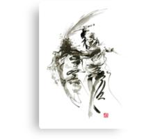 Samurai sword bushido katana short knife ninja shadow martial arts sumi-e original ink painting artwork Canvas Print
