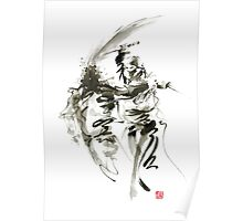 Samurai sword bushido katana short knife ninja shadow martial arts sumi-e original ink painting artwork Poster