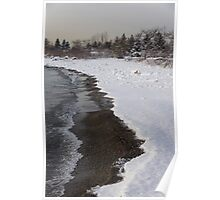 Snowy Winter Beach Patterns - Lake Ontario, Toronto, Canada Poster