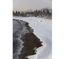 Snowy Winter Beach Patterns - Lake Ontario, Toronto, Canada Photographic Print