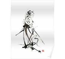 Samurai sword bushido katana martial arts sumi-e original ink painting artwork Poster