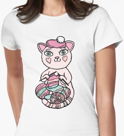 Cute kitten in pink beret knitting scarf Womens Fitted T-Shirt