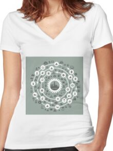 Industry a circle Women's Fitted V-Neck T-Shirt