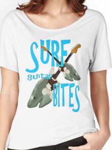 SURF guitar BITES (blue wording) Women's Relaxed Fit T-Shirt