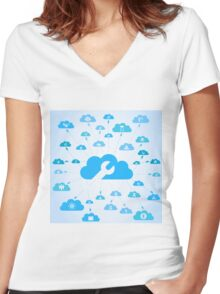 Industry a cloud Women's Fitted V-Neck T-Shirt